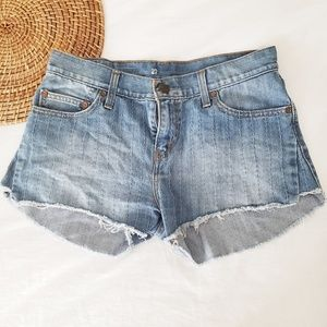 Levis denim cut off shorts embroidered medium wash